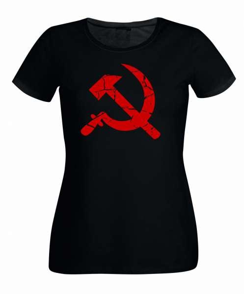 Hammer und Sichel rot Damen T-Shirt