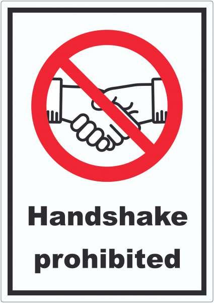 Handshake prohibited Aufkleber No handshake Symbol und Text Aufkleber