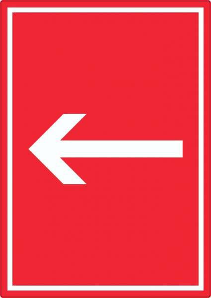 Richtungspfeil links Aufkleber hochkant weiss rot Pfeil