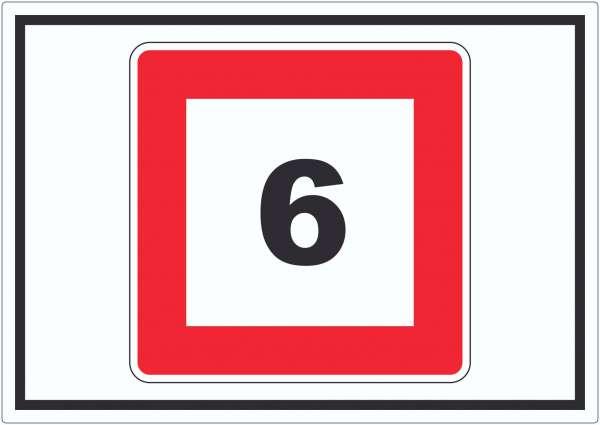 Höchstgeschwindigkeit 6 kmh nicht zu überschreiten Aufkleber mit Symbol