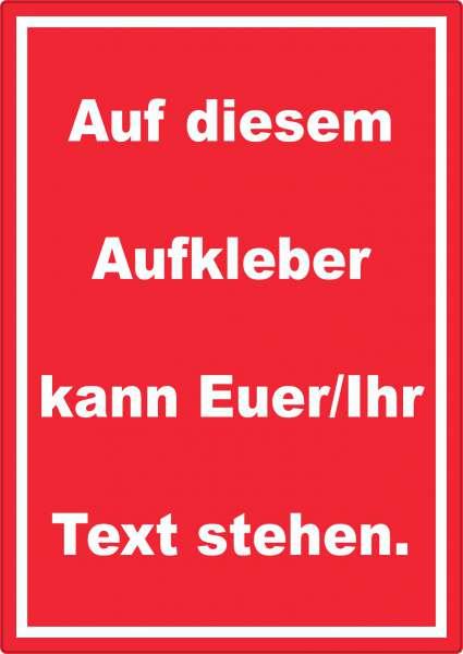Aufkleber mit Wunschtext hochkant Text weiss Hintergrund rot