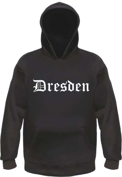 Dresden Kapuzensweatshirt - Altdeutsch bedruckt - Hoodie Kapuzenpullover