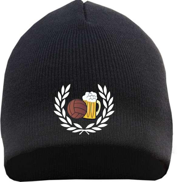 Lorbeerkranz Fussball Bier Beanie Mütze - Bestickt - Strickmütze Wintermütze