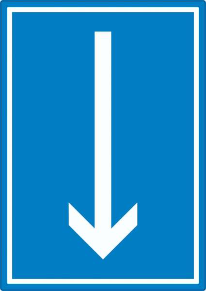 Richtungspfeil runter Aufkleber hochkant weiss blau Pfeil
