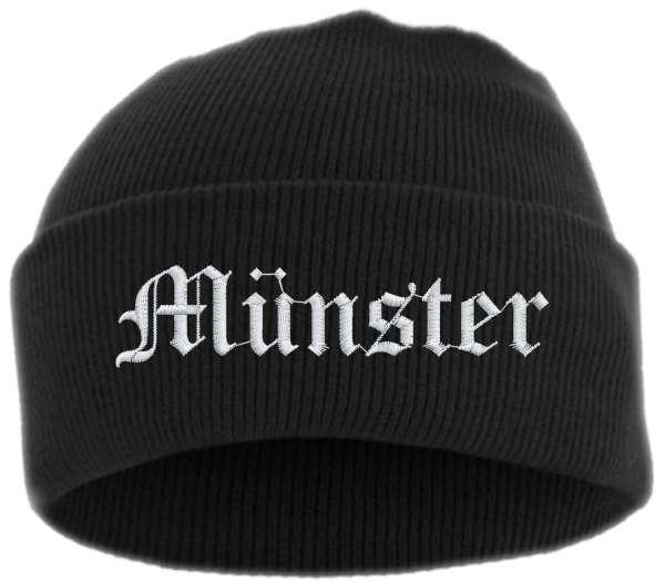 Münster Umschlagmütze - Altdeutsch - Bestickt - Mütze mit breitem Umschlag