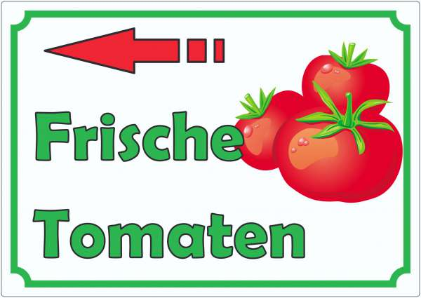 Frische Tomaten Werbeaufkleber mit Pfeil nach links Aufkleber