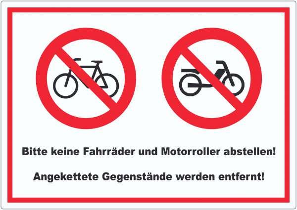 Keine Fahrräder oder Motorroller abstellen werden entfernt Aufkleber