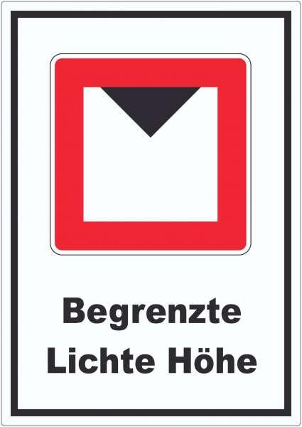 Begrenzte lichte Höhe über Wasserspiegel Aufkleber mit Symbol und Text
