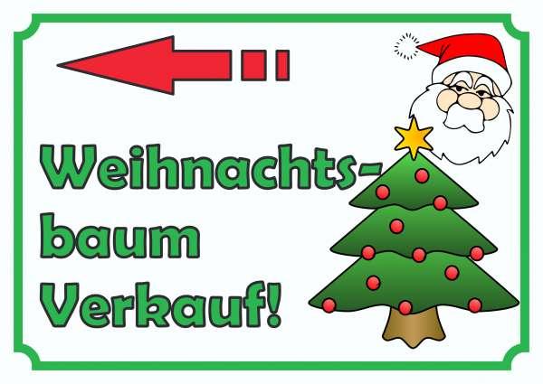 Verkaufsschild Schild Weihnachtsbaum links