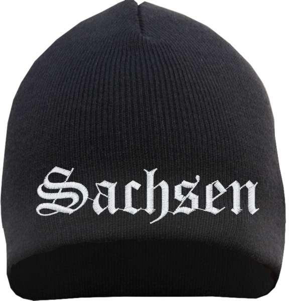 Sachsen Beanie Mütze - Altdeutsch - Bestickt - Strickmütze Wintermütze