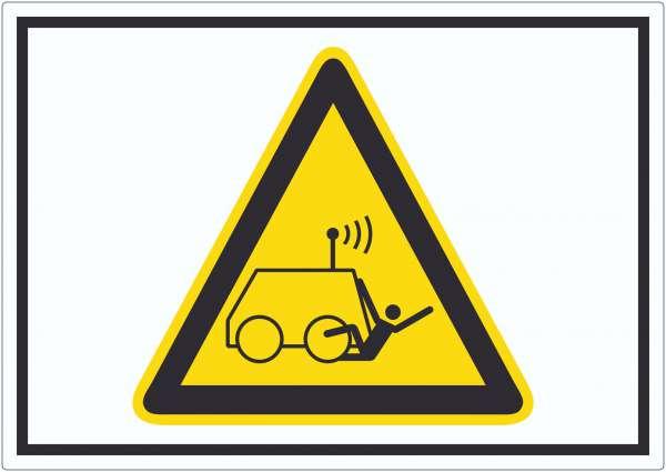Warnung vor Überrollen durch ferngesteuerte Maschine Symbol Aufkleber