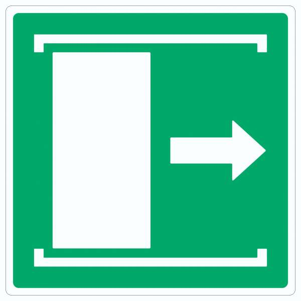 Schiebetür öffnet nach rechts Symbol Aufkleber Quadrat