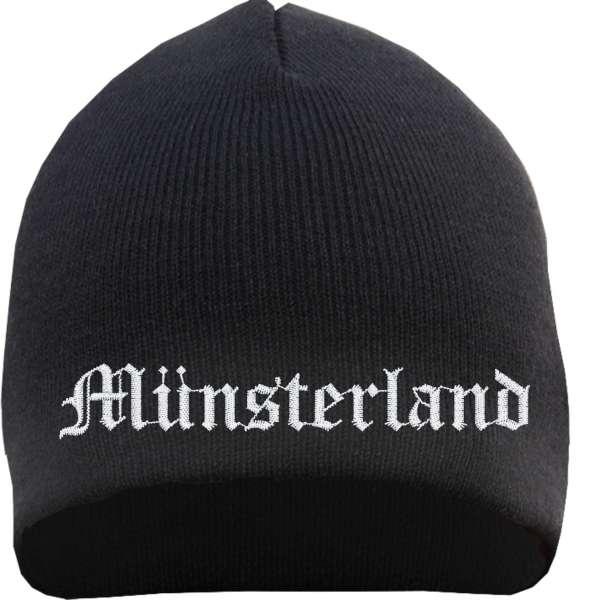 Münsterland Beanie Mütze - Altdeutsch - Bestickt - Strickmütze Wintermütze