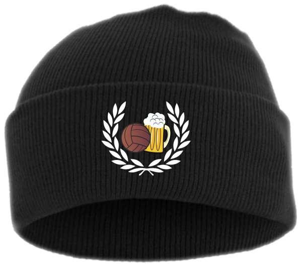 Lorbeerkranz Fussball Bier Umschlagmütze - Bestickt - Mütze mit breitem Umschlag
