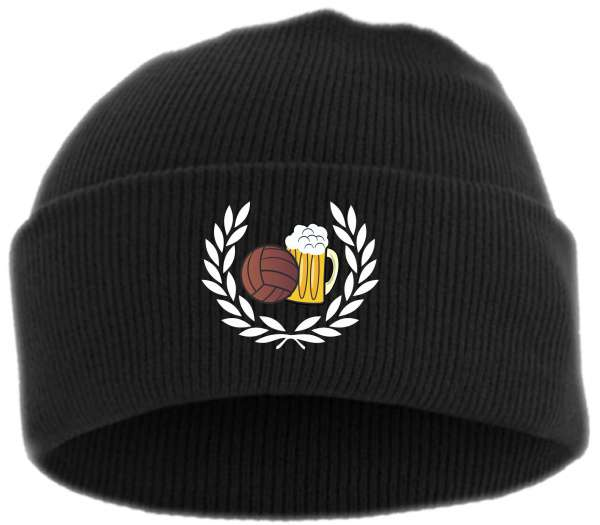 Lorbeerkranz Fussball Bier Umschlagmütze - bestickt -