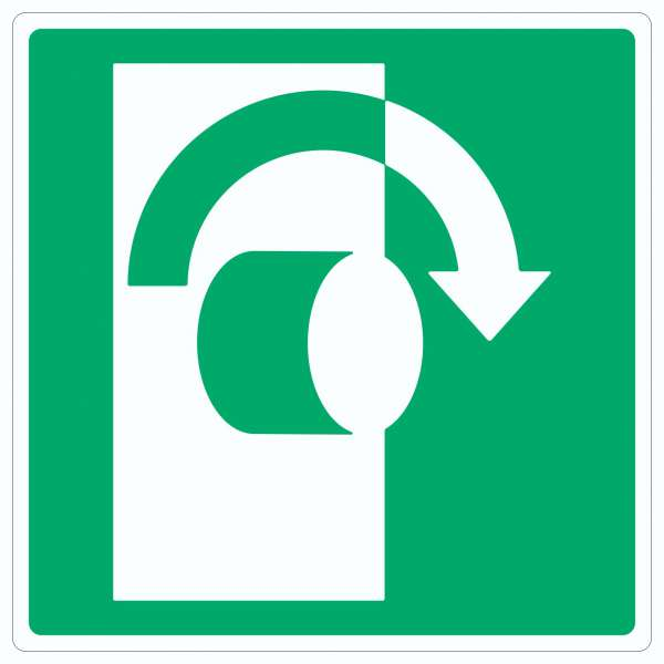 Zum Öffnen im Uhrzeigersinn drehen Symbol Aufkleber Quadrat