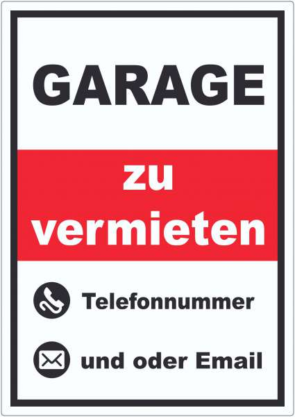 Garage zu vermieten Hochkant Aufkleber