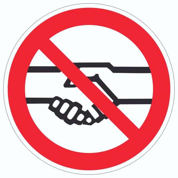 Bitte auf Grund der aktuellen Situation das Hände schütteln vermeiden Aufkleber Kreis