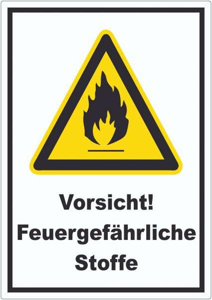 Vorsicht Feuergefährliche Stoffe Aufkleber