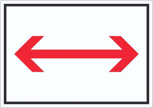 Richtungspfeil rechts und links Aufkleber waagerecht rot weiss schwarz Pfeil
