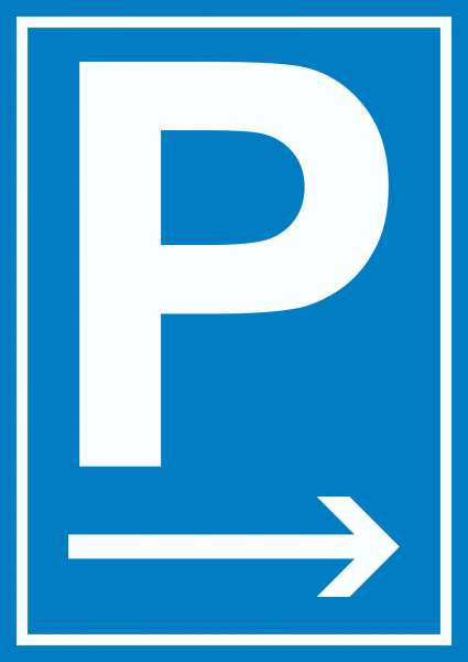 P Parkplatz Schild mit Pfeil nach rechts
