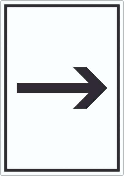 Richtungspfeil rechts Aufkleber hochkant schwarz weiss Pfeil