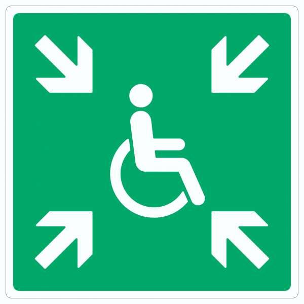 Sammelplatz für Menschen mit Behinderung Symbol Aufkleber Quadrat