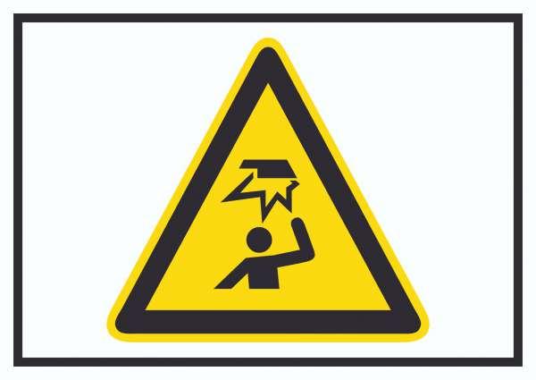 Achtung Hindernisse im Kopfbereich Symbol Schild
