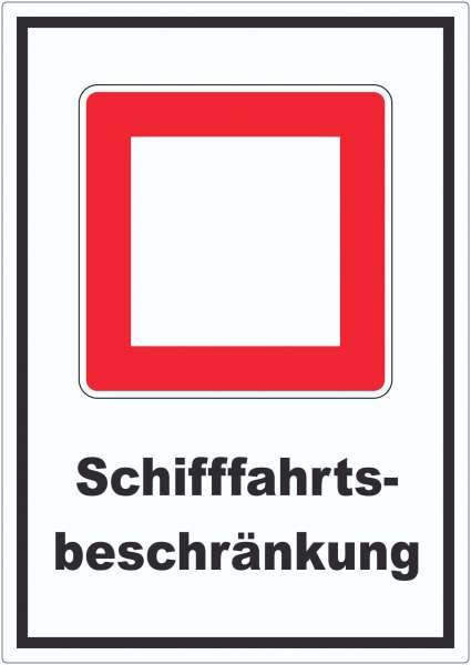 Schifffahrtsbeschränkungen Aufkleber mit Symbol und Text