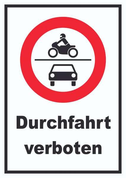 Durchfahrt verboten Krad und PKW Symbol Schild