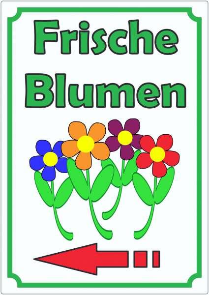 Werbeaufkleber Blumen mit Pfeil links Aufkleber Hochkant