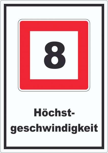 Höchstgeschwindigkeit 8 kmh nicht zu überschreiten Aufkleber mit Symbol und Text