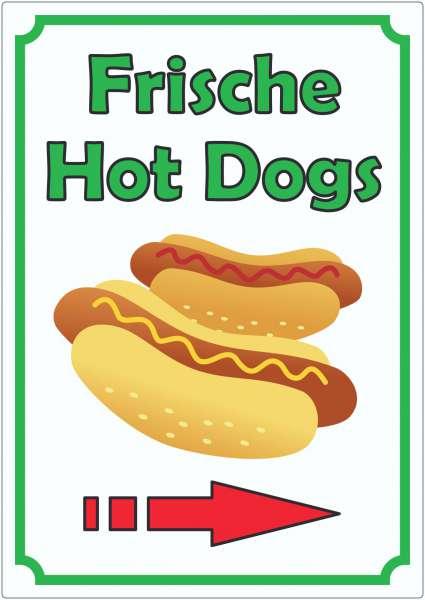 Frische Hot Dogs Aufkleber Hochkant mit Pfeil rechts
