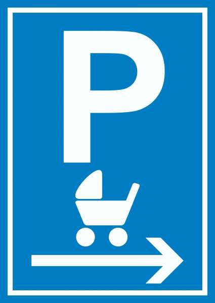 Kinderwagen Parkplatz rechts Schild