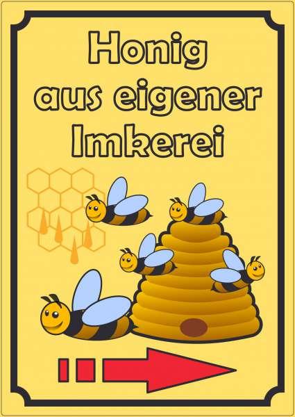 Werbeaufkleber Aufkleber Honig Hochkant mit Pfeil rechts