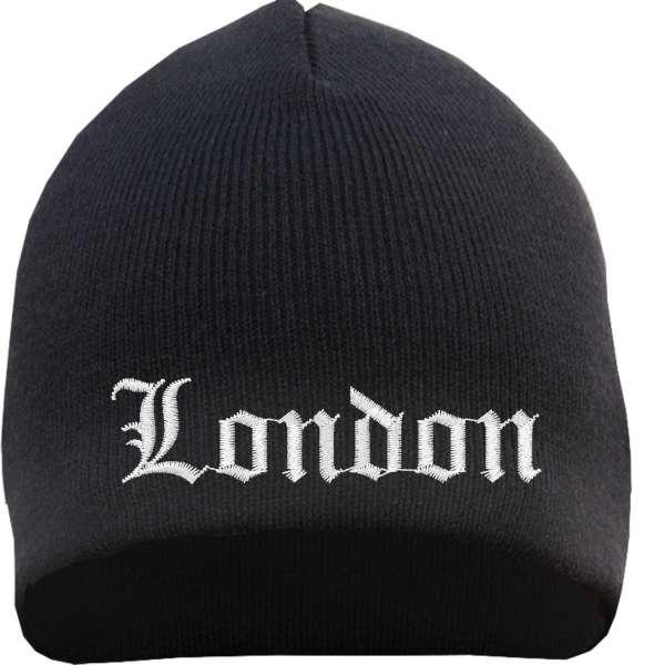 London Beanie Mütze - Altdeutsch - Bestickt - Strickmütze Wintermütze