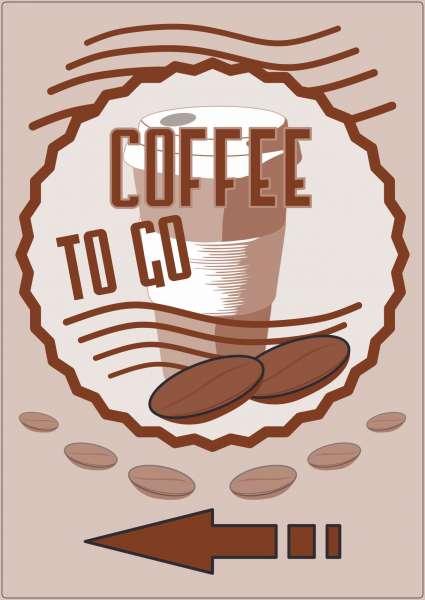 Werbeaufkleber Aufkleber Coffee to go Hochkant mit Pfeil links