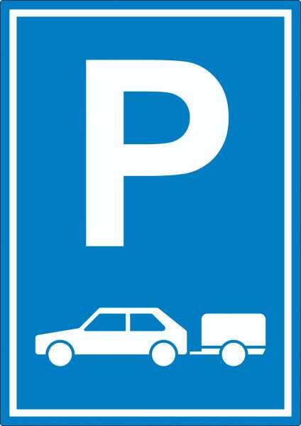 PKW mit Anhänger Parkplatz Aufkleber Gespannparkplatz