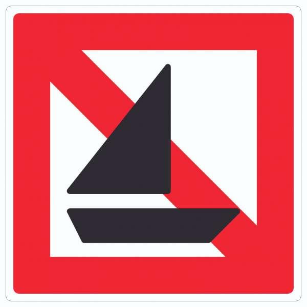 Segelboote verboten Symbol und Text Segeln verboten