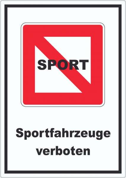 Fahrverbot für Sportboote Symbol und Text Sportfahrzeuge verboten
