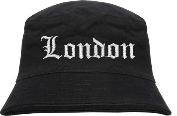 London Fischerhut - Altdeutsch - bestickt - Bucket Hat Anglerhut Hut