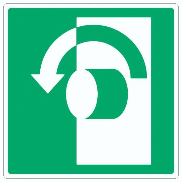 Zum Öffnen gegen Uhrzeigersinn drehen Symbol Aufkleber Quadrat