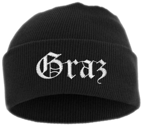 Graz Umschlagmütze - Altdeutsch - Bestickt - Mütze mit breitem Umschlag