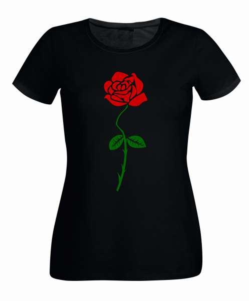 Rose Aufdruck farbig Damen T-Shirt