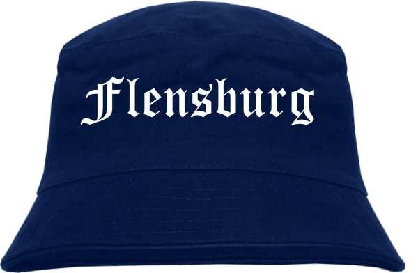 Flensburg Fischerhut - Dunkelblau - Altdeutsch - bedruckt - Bucket Hat Anglerhut Hut