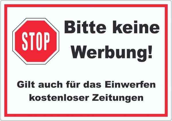 Stop Bitte keine Werbung Aufkleber