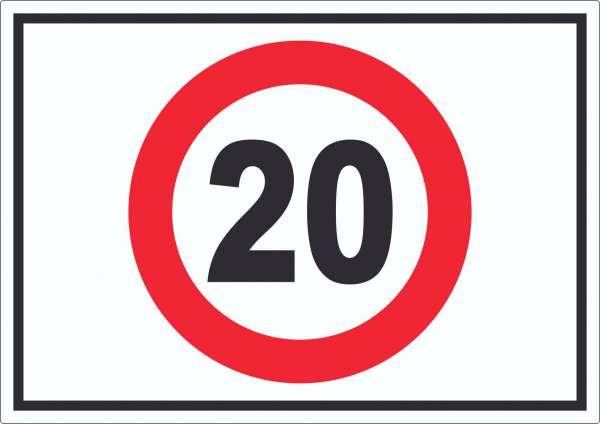 Tempo 20 km/h Geschwindigkeitsbegrenzung Aufkleber Symbol