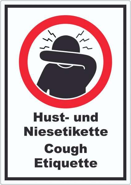 Husten und Niesetikette beachten Cough Etiquette Symbol und Text Aufkleber