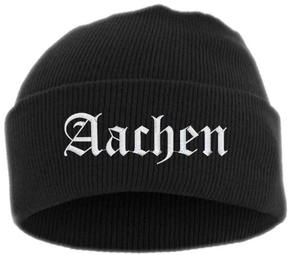 Aachen Umschlagmütze - Altdeutsch - Bestickt - Mütze mit breitem Umschlag