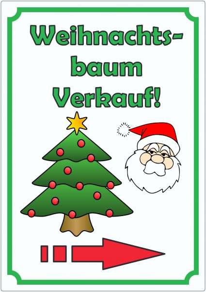 Werbeaufkleber Aufkleber Weihnachtsbaum Hochkant mit Pfeil rechts